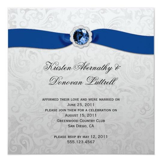 Blue Ribbon Gem Silver Post Wedding Invitation