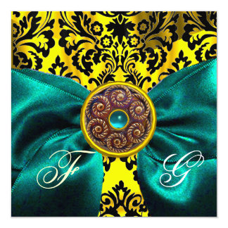 BLUE  RIBBON GOLD YELLOW  BLACK  DAMASK MONOGRAM CARD