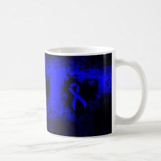 Blue Ribbon Grunge Heart Coffee Mug
