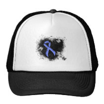 Blue Ribbon Grunge Heart Trucker Hat