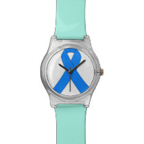 Blue Ribbon Illnesses Awareness Wristwatch