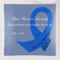 Blue Ribbon In Memory Of Personalized Trinket Trays