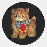 Blue Ribbon Kitten Valentine Classic Round Sticker