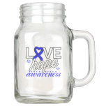 Blue Ribbon Love Hope Awareness Mason Jar