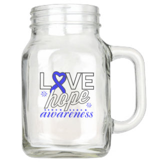 Blue Ribbon Love Hope Awareness Mason Jar