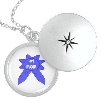 Blue Ribbon Mom #1 Locket Necklace