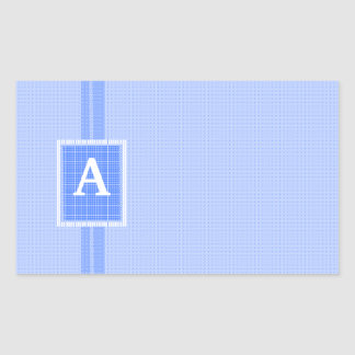 Blue Ribbon- Monogram Initial-Personalize It! Rectangular Sticker