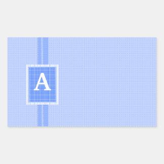 Blue Ribbon- Monogram Initial-Personalize It! Rectangle Sticker