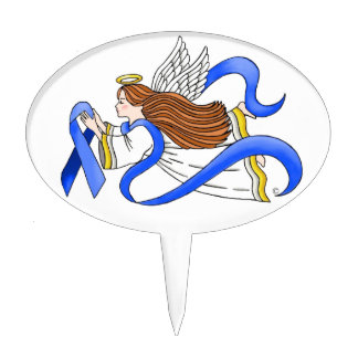 """Blue Ribbon"" of Awareness Angel Cake Toppers"