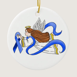 """Blue Ribbon"" of Awareness Angel Ceramic Ornament"