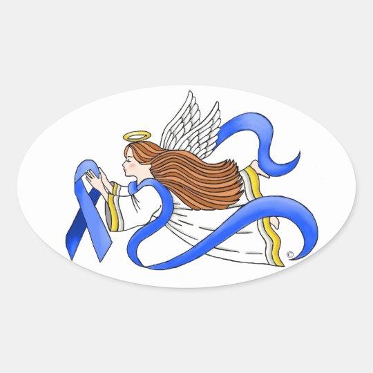 """Blue Ribbon"" of Awareness Angel Oval Sticker"