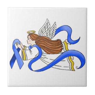 """""""Blue Ribbon"""" of Awareness Angel Small Square Tile"""
