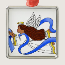 """Blue Ribbon of Awareness""  Ethnic Angel Metal Ornament"