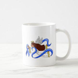 """Blue Ribbon of Awareness""  Ethnic Angel Coffee Mugs"