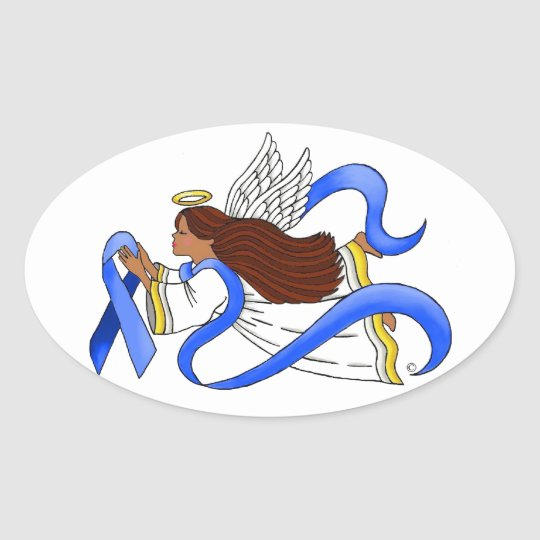 """Blue Ribbon of Awareness""  Ethnic Angel Oval Sticker"