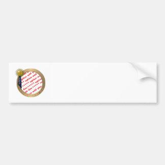 Blue Ribbon para el papá #1 en el marco del día de Etiqueta De Parachoque