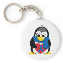 Blue Ribbon Penguin Scarf Keychain