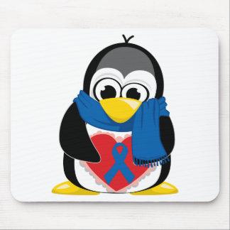 Blue Ribbon Penguin Scarf Mouse Pad
