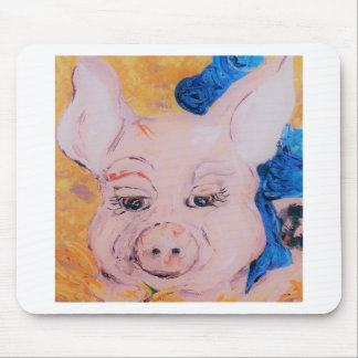 Blue Ribbon Pig Mouse Pad