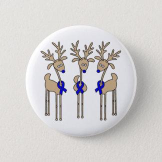 Blue Ribbon Reindeer Button