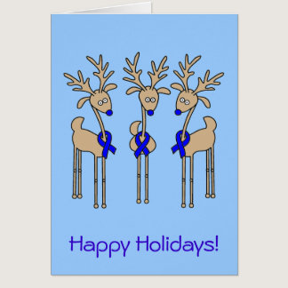 Blue Ribbon Reindeer Card