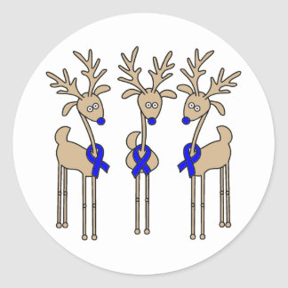 Blue Ribbon Reindeer Classic Round Sticker