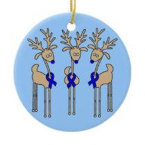 Blue Ribbon Reindeer (Colon Cancer) Ceramic Ornament