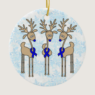 Blue Ribbon Reindeer (Colon Cancer) Ceramic Ornament