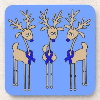 Blue Ribbon Reindeer - Colon Cancer Coaster