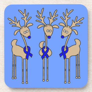 Blue Ribbon Reindeer - Colon Cancer Coaster