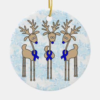 Blue Ribbon Reindeer (Colon Cancer) Double-Sided Ceramic Round Christmas Ornament