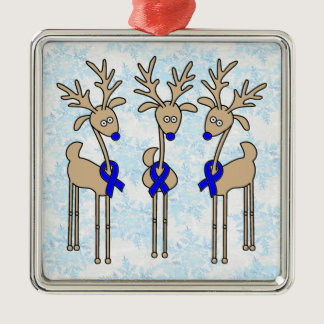 Blue Ribbon Reindeer (Colon Cancer) Metal Ornament