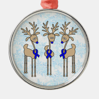 Blue Ribbon Reindeer (Colon Cancer) Metal Ornament