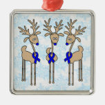 Blue Ribbon Reindeer (Colon Cancer) Square Metal Christmas Ornament