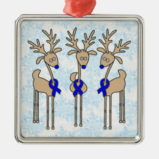 Blue Ribbon Reindeer (Colon Cancer) Ornaments