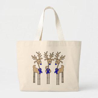 Blue Ribbon Reindeer Large Tote Bag