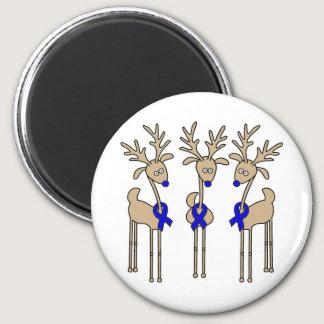 Blue Ribbon Reindeer Magnet
