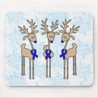 Blue Ribbon Reindeer Mouse Pad