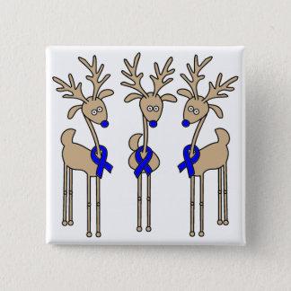 Blue Ribbon Reindeer Pinback Button