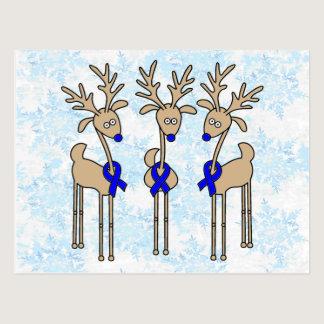 Blue Ribbon Reindeer Postcard