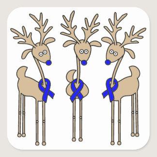 Blue Ribbon Reindeer Square Sticker