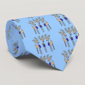 Blue Ribbon Reindeer Tie