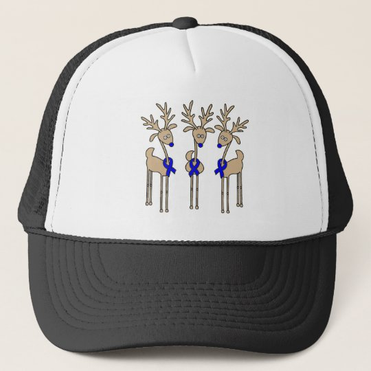 Blue Ribbon Reindeer Trucker Hat