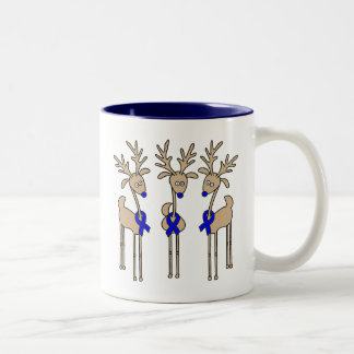 Blue Ribbon Reindeer Two-Tone Coffee Mug