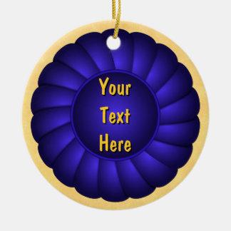 Blue Ribbon Rosette to Personalize Ceramic Ornament