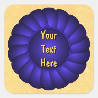 Blue Ribbon Rosette to Personalize Square Sticker