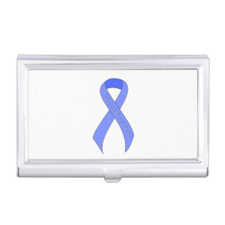Blue Ribbon Support Awareness Business Card Case