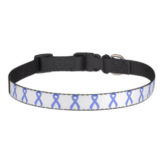 Blue Ribbon Support Awareness Dog Collar