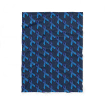 Blue Ribbon Tiled Pattern  Crohn's disease awarene Fleece Blanket