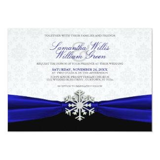 Blue Ribbon Winter Wedding Invitation